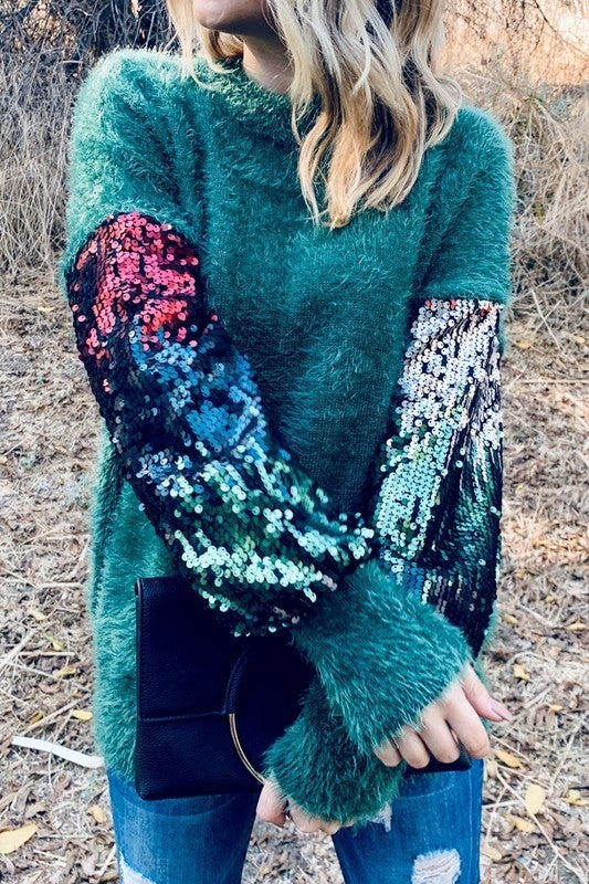 Sequin Ombre Sleeve Sweater