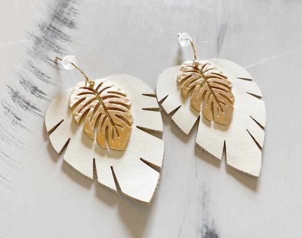 Leather & Metal Leaf Earrings