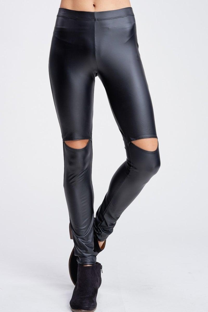 Faux Leather Leggings with Cutouts MEDIUM