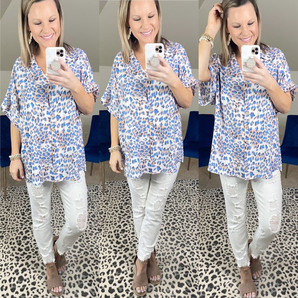 Dolman Sleeve Button Up Top