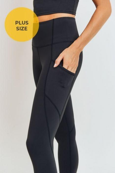 Solid and Slanted Panel High Waist Leggings 3X