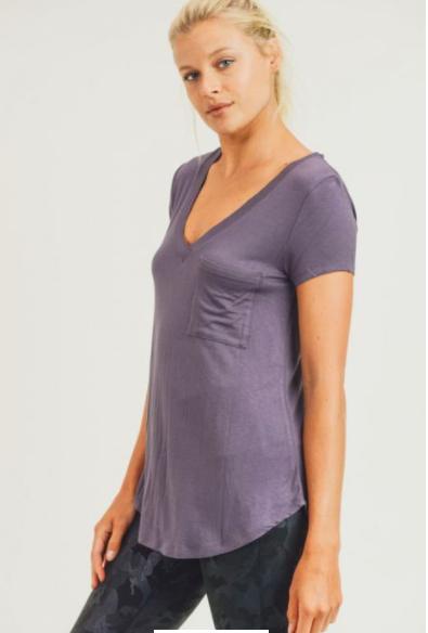 Deep V-Neck Pocket Shirt