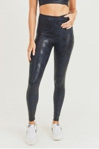"""Metallic Foil """"In the Navy"""" Leggings SMALL AND 3X"""