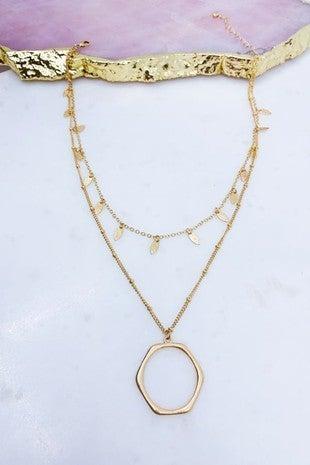 Hexagon Necklace Worn Gold