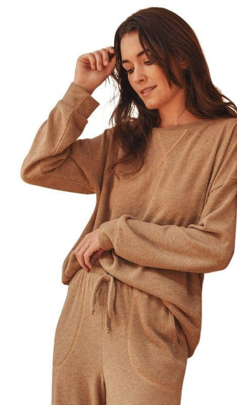 Ultra Soft  Long Sleeve Jogger Set: Taupe