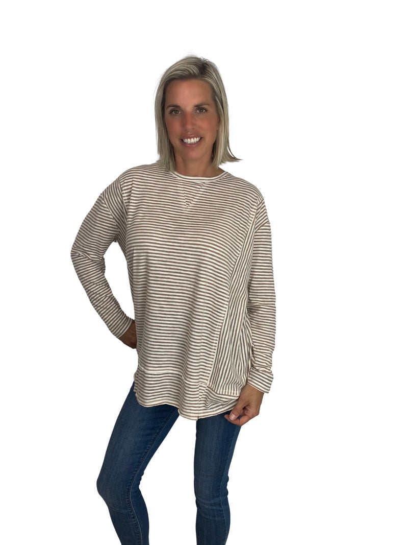 Don't Stop Me Now Pin Stripe Long Sleeve Top