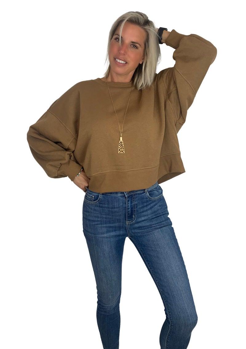 Do it again Balloon Sleeve Sweatshirt Camel &  Dust