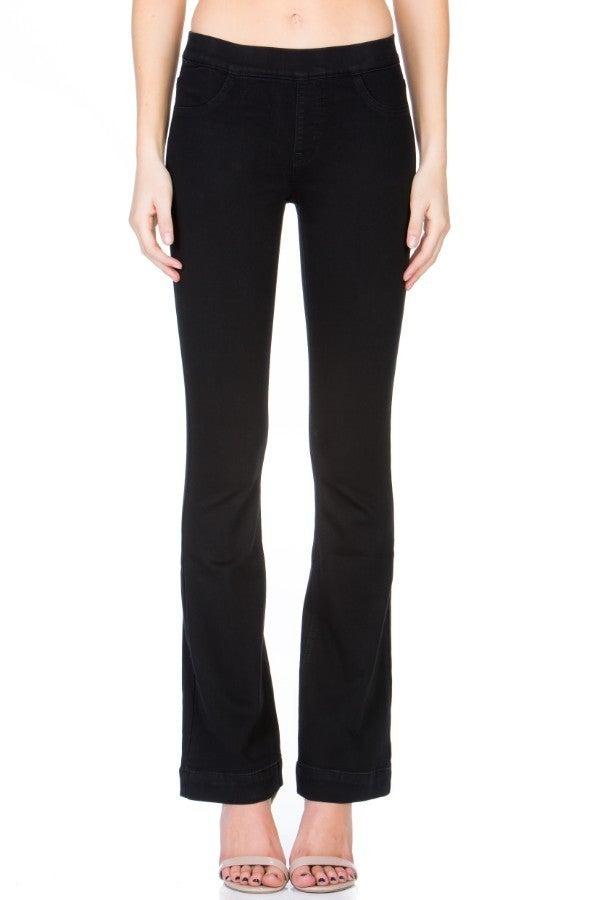 Dare to Flare Jeans: Medium Denim & Black