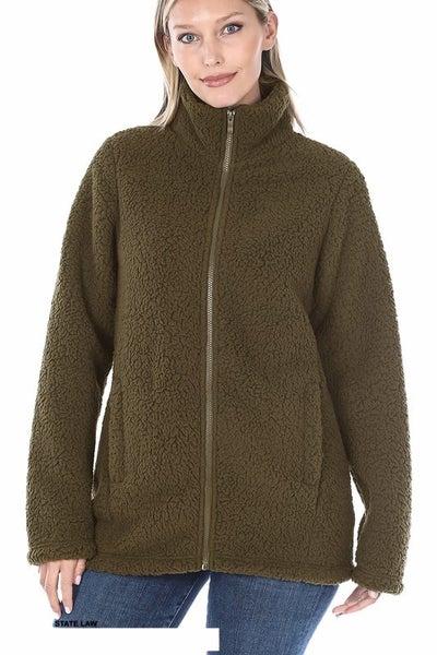 Full Zip Ultra Soft Jacket: Black & Olive Color