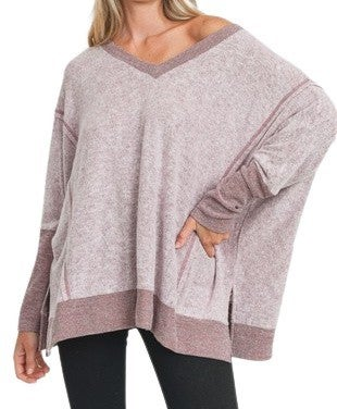 Let it Be Soft Knit Top: Burgundy