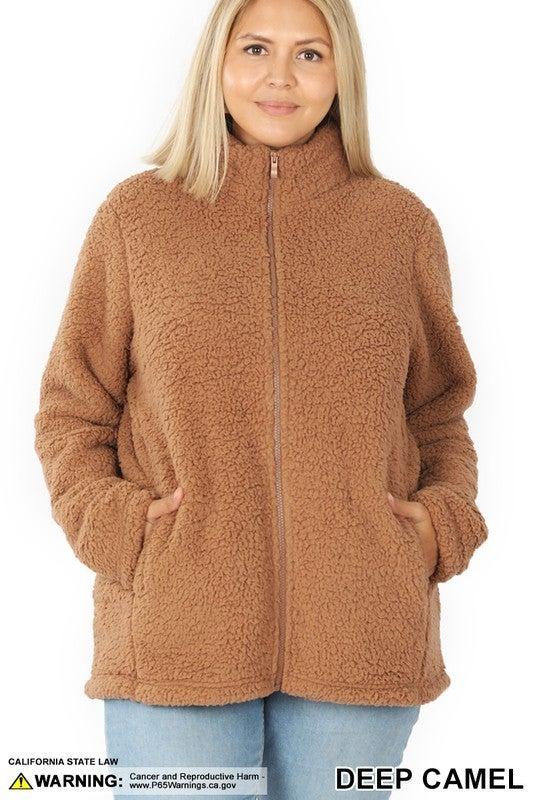 Zip Up Cozy Jacket - Plus Sizes