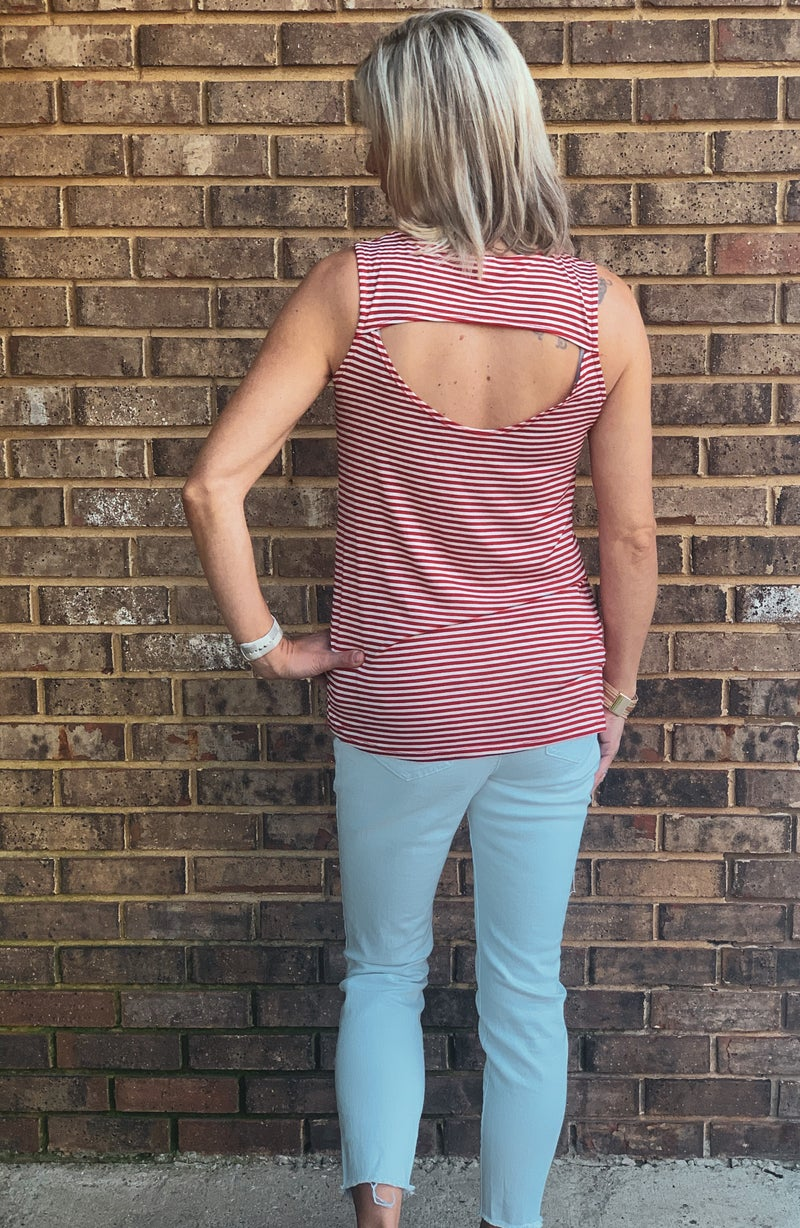 Stripes With Peek a Boo Back: Red or Black