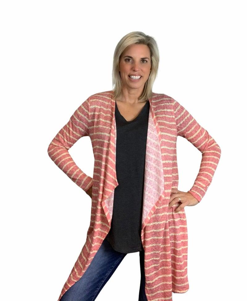 Stripe Open Cardigan