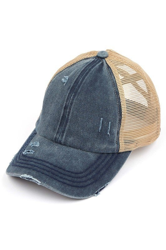Strike out Distressed Baseball Ponytail Cap: Variety Colors