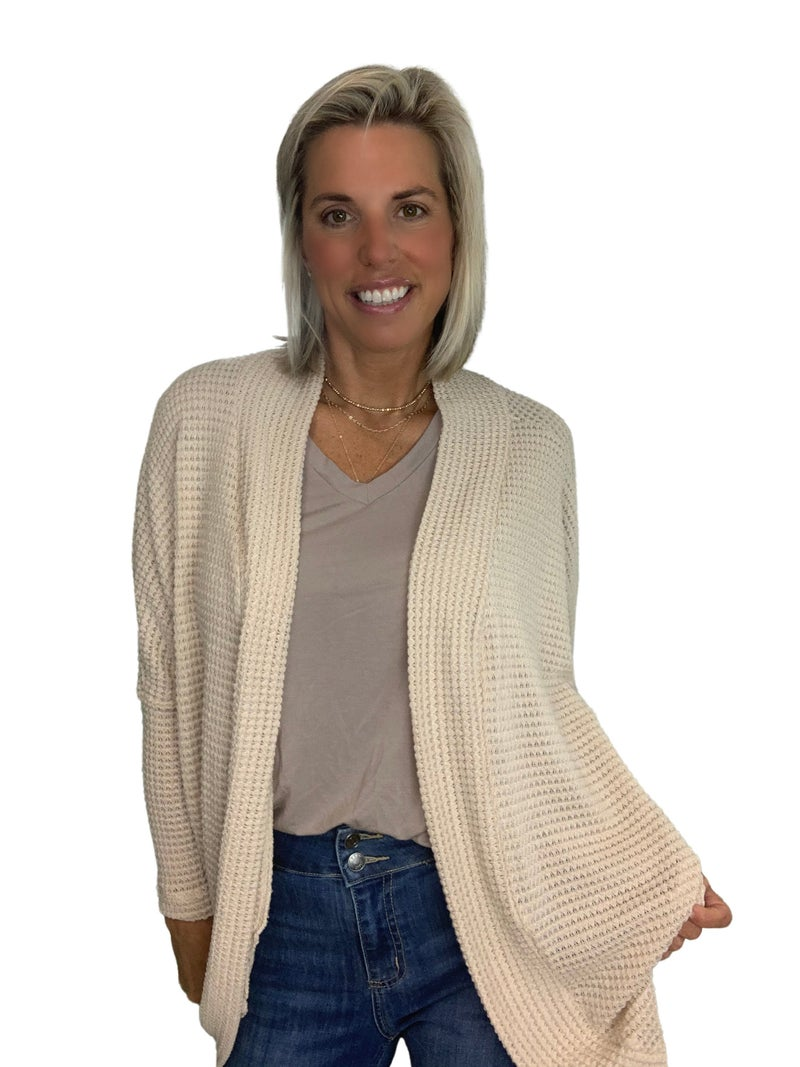 Living on a Prayer Open Waffle Knit Cardigan: Black & Cream