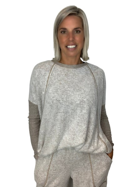 Oh Darling Taupe Soft Knit Top