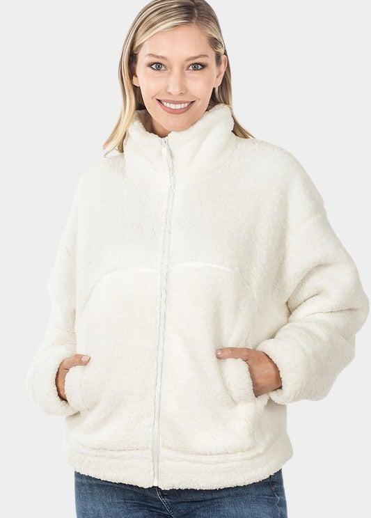 Drawstring Ivory Full Zip Jacket