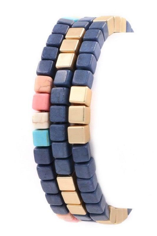 Stone Cube Bead Bracelet