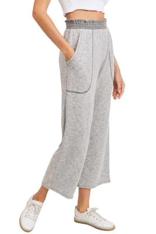 Lovely Rita Soft Knit Cropped pants: Taupe and Grey
