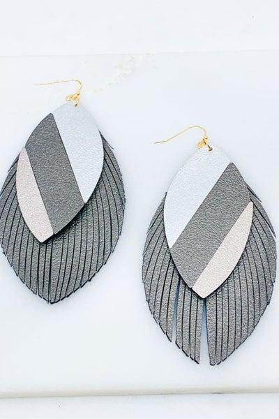 Fringe Earrings Grey