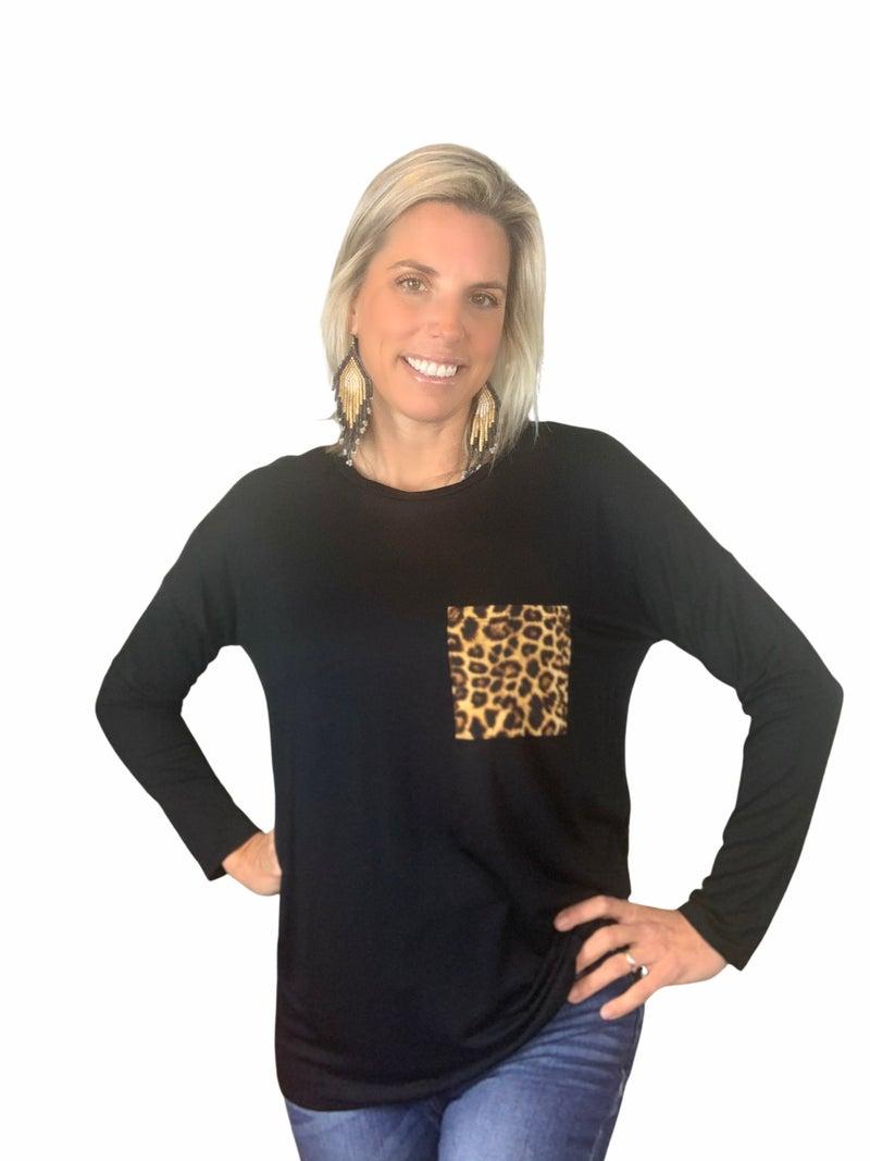 Long Sleeve Leopard Pocket Top