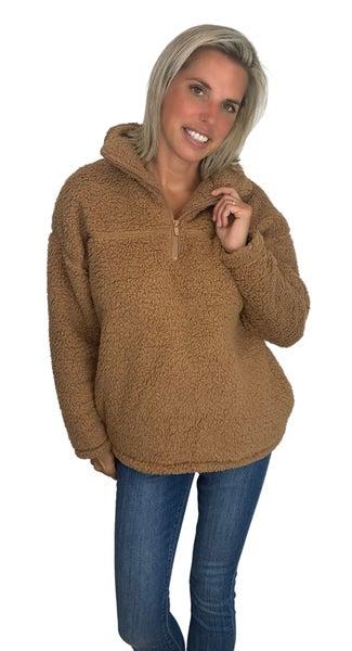Zip it Cozy Jacket Camel & Black  Colors