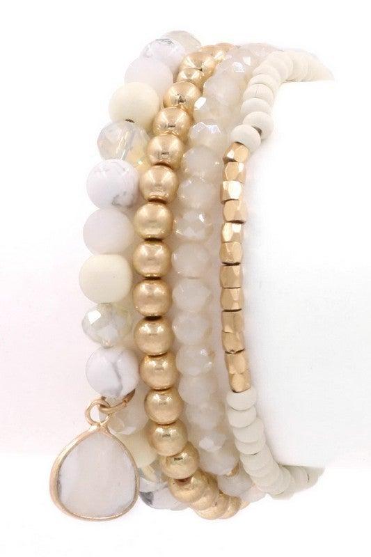 Madi: Assorted Bead Bracelet: White & Grey Sets