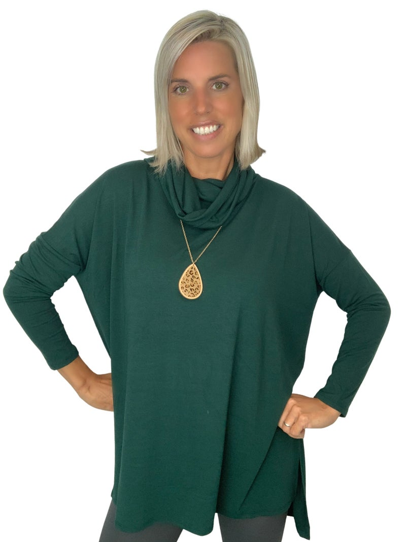 Under the Boardwalk Cowl Neck Top Black & Green