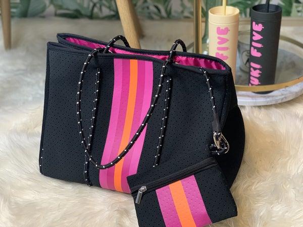 Black with Pink Stripe Neoprene Bag