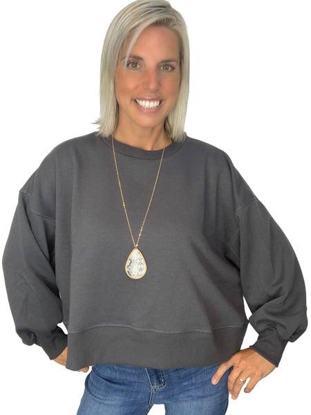 Flashdance Balloon Sleeve Sweatshirts: Blk, Grey & Green