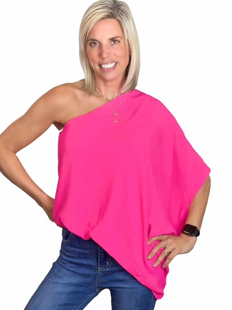 Feel your love one Shoulder Top:: Pink & White