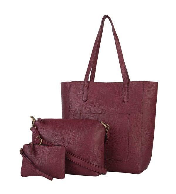 MALLORY 3PC SET, TOTE W/ BONUS BAG & RFID POUCH: Merlot