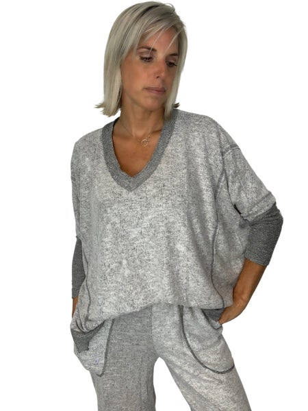 Let it Be Soft Knit Top - Heather GREY