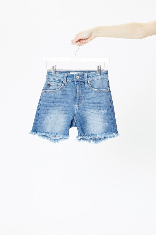 Take Me with you denim raw hem shorts