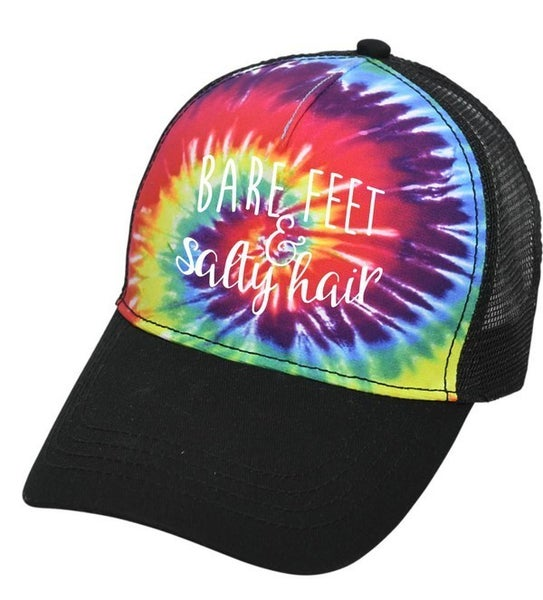 Tie Dye Bare Feet & Salty Hair Embroidered Hat