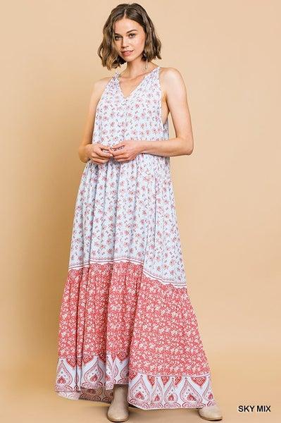 Umgee Rayon Floral and Paisley Mixed Print Sleeveless Racerback Maxi Dress