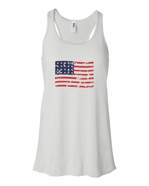 White Distressed Flag Graphic Tank