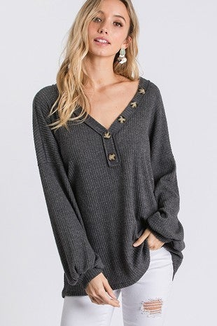 CY Fashion Button Trim Detail Bubble Sleeve Top
