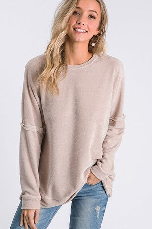 CY Fashion Dusty Pink Pullover Round Neck Drop Shoulder Relaxed Top