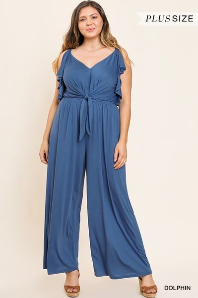 Umgee Wide Leg V Neck Jumpsuit