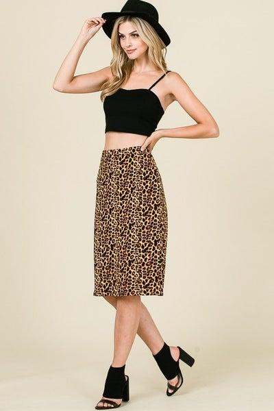 Animal Print Midi Length Skirt with Waistband *Final Sale*