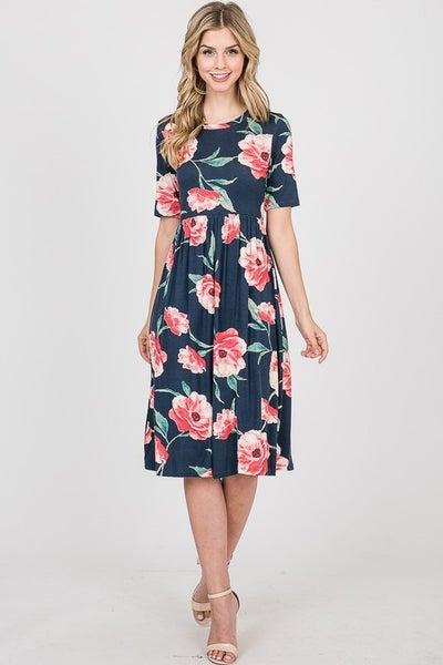 Hopely Floral Round Neck Midi Dress