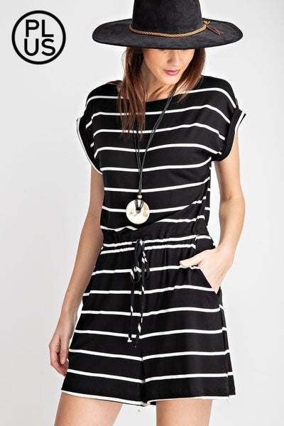 Rae Mode Curvy Striped Jumpsuit Black/White