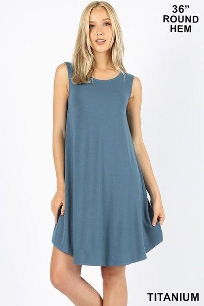 Zenana Sleeveless Round Hem Swing Dress with Pockets