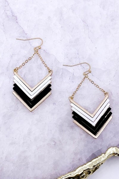 Metal Coated Chevron Earrings