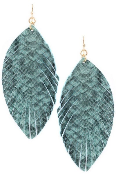 Faux Leather Snake Print Feather Drop Earring