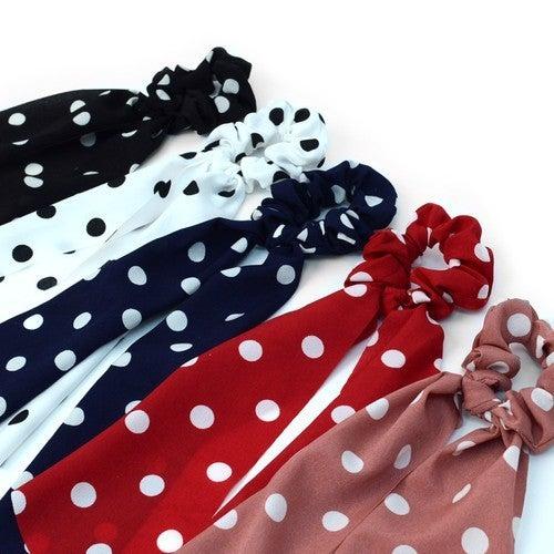 Polka Dot Scrunchie Ribbon Hair Tie