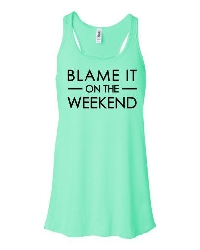 Blame it On the Weekend Flowy Tank Top in Mint