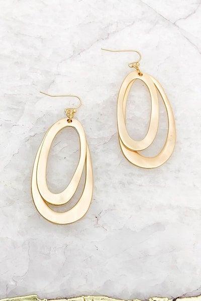 Gold Matte Plated Warped Earrings