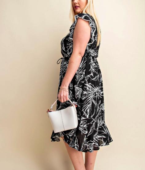 Kori Curvy Black Leaves Print Midi Dress
